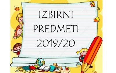 Izbirni predmeti v šolskem letu 2019/20